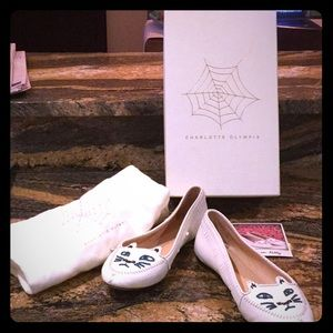 Charlotte Olympia White Moccasin Kitty Flats